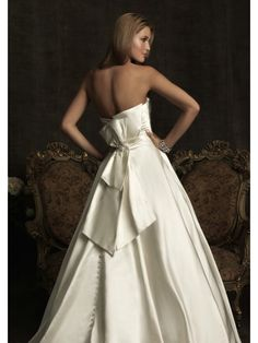 A-Line/Princess Strapless Neckline Sweep/Brush Train Satin Wedding Dress