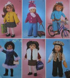 "18""  Doll Fall and Winter Clothes Sewing Pattern"