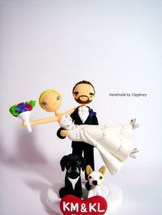 Honeymoon Jitters - Customized wedding cake topper with the dogs