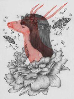 De superbes illustrations de l'artiste Peony Yip. Il réalise ses œuvres au crayon avec une superposition en rouge illustrant le coté animal