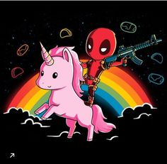 Nothing says epic like Deadpool riding a unicorn! Get the Epic Deadpool Shirt only at TeeTurtle! Deadpool Unicorn, Deadpool Funny, Deadpool Quotes, Deadpool Costume, Deadpool Movie, Deadpool Chibi, Lady Deadpool, Deadpool Kawaii, Deadpool Facts