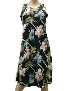77cfe1614985c Paradise Found Orchid Bamboo Black Rayon Hawaiian A-Line Tank Short Dress  Luau Dress,