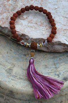 Beautiful rudraksha wrist mala bracelet - look4treasures on Etsy, $16.95