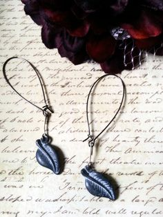 Upcycled BlueGrey Leaf Earrings on Kidney by PalindromeCircus, $14.00