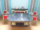 VINTAGE PETITE PRINCESS DOLLHOUSE MINIATURE DINING TABLE 2 CHAIRS BUFFET & RUG!