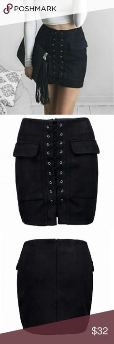 NEW FALL ARRIVAL~ SUEDE LACE UP SKIRT BLACK BRAND NEW SUEDE LACK UP SKIRT BLACK. SKIRT IS STRETCHABLE. nwot. true to size. Skirts Mini