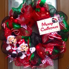 Disney Inspired Mickey and Minnie Christmas Wreath from Welcome Home Wreaths.