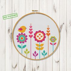 Cross stitch flowers pattern Hoop art cross stitch Bird on flower xstitch chart Modern Сross Stitch pdf pattern download Wall art decor