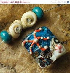 On Sale Glass Lampwork Beads Under the Sea Star by carolynsbeads, $16.00