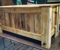 """I made this toy box as a Christmas gift for my 7 year old nephew. It is made entirely from old pallets with the exception of lining the interior with 1/4"""" plywood so he would not lose small toys in the uneven cracks of the pallet wood. I enjoy making things out of used pallets. It is challenging because you are limited to what you can make based on the size of the pallet boards available to you. It's even better seeing the finished look after putting on a clear finish."""