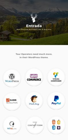 Buy Entrada Tour Travel Booking WordPress Theme by waituk on ThemeForest. Adventure Tours and Travel WordPress Theme – Entrada Entrada – the adventure tours and travel WordPress theme is deve.