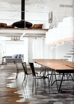Cool way to incorporate different flooring in the same room