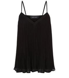 Black Pleated Chiffon Cami | New Look