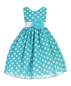 Ellie Kids Aqua Polka Dot Chiffon A-Line Dress - Toddler & Girls Toddler Girl Dresses, Little Girl Dresses, Girls Dresses, Toddler Girls, Cute Outfits For Kids, Pretty Outfits, Pretty Clothes, Special Dresses, Dress Tutorials