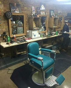 That blue barber chair though. Barber Shop Interior, Barber Shop Decor, Tony Barber, Classic Barber Shop, Mobile Barber, Barber Shave, Barbershop Design, Barbershop Ideas, Barber School