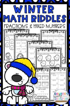 Kids LOVE riddles!! Make learning exciting for your 5th and 6th grade students with this Winter Riddle Math Activity Packet! This riddle packet is a fun and engaging way for you to provide practice for your students to master skills needed for fractions in the upper elementary grades. This resource consist of worksheets for practicing adding and subtracting fractions with unlike denominators and multiplying fractions and mixed numbers.