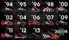Jak zmieniały się buty piłkarskie Adidas Predator od 1994 roku do dzisiaj • Wesoły obrazek z korkami adidasa • Wejdź i zobacz więcej >> #football #soccer #sports #pilkanozna #adidas