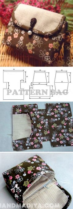 Sew a compact bag. DIY tutorial with patterns.Sew a compact bag. DIY tutorial with patterns. Bag Sewing Pattern, Purse Patterns, Sewing Patterns Free, Free Sewing, Tote Pattern, Diy Bags Tutorial, Purse Tutorial, Sewing Hacks, Sewing Tutorials