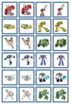 Instant Download -Transformers Rescue Bots Digital Memory Game - Birthday Party Cupcake Topper DIY Printable                                                                                                                            Mais