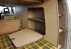 built ins for the very back of the van. by Caracolvan Alquiler Vw Camper hire, via Flickr