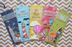 Blue Marine Craft: Lawn Fawn + Avery Elle + Newton's Nook - Shaker Bookmarks with video Diy Bookmarks, Lawn Fawn Stamps, Shaker Cards, Scrapbook Embellishments, Card Tutorials, Card Tags, Book Making, Little Gifts, Diy Gifts