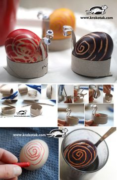 DIY Easter egg snails using toilet paper rolls. (Site translator tab at top of page. Easter Arts And Crafts, Easter Projects, Spring Crafts, Diy For Kids, Crafts For Kids, Easter Activities, Children Activities, Easter Holidays, Egg Decorating