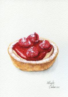 Raspberry Lemon Tart ORIGINAL Painting Desset by ForestSpiritArt