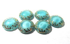 Light Blue Aqua Moonglow Glass Shankless Buttons West Germany VINTAGE Luster Buttons Six (6) Vintage Buttons Jewelry Sewing Supplies (S222) by punksrus on Etsy