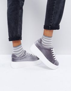 New Look Chunky Velvet Flatform Sneakers - Gray New Look Fashion 0b0515a05