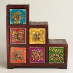 One of my favorite discoveries at WorldMarket.com: Multicolor Painted Stepped Chest ~~~kitchen tea box
