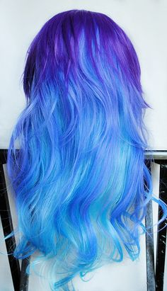 Example from the back of subtle shading/highlights. 22% OFF - BLUEBERRY BLISS wig -- Amplified // Color Ombre // Blue Purple // Long Wavy Scene Lolita Hair. $109.20, via Etsy.