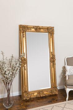 Beaston Leaner Beveled Full Length Mirror in 2019 Gold Floor Mirror, Full Body Mirror, Full Length Mirrors, Leaner Mirror, Black Rooms, Standing Mirror, Home And Deco, Modern Room, Inspired Homes