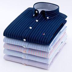 Men's Oxford Cotton Fashion Stripe Casual Long Sleeve Shirts Retro Style High Quality Design Men's Dress Shirts Blouse Estilo Retro, Striped Long Sleeve Shirt, Long Sleeve Shirts, Smart Casual Shirts, Retro Fashion, Mens Fashion, Fashion Shirts, Men Dress, Shirt Dress