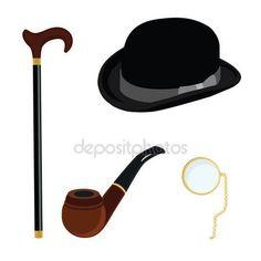 Pobieraj - Kapelusz melonik, monokl, fajka i laski — Ilustracja stockowa #74556005