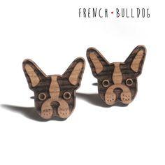 Gemelli con Bulldog Francese in legno massello e di DARQDESIGN