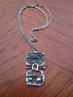 Brutalist, Pewter, Dog Tag Necklace, Retro Vintage, Silver Jewelry, Guy, Jewelry Design, Mid Century, Pendants