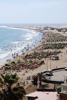 Packed in on Playa Del Ingles Beach - Gran Canaria, Spain