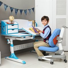 Kids table chair children study desk school desk height - Ergonomic table and chair ...