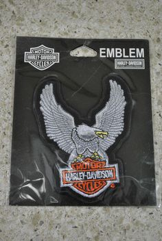"""Harley Davidson Small """"Silver Upwing Eagle"""" Emblem Patch Harley Davidson Gear, Eagle Emblems, I Tattoo, Patches, Heaven, Bike, Silver, Ebay, Bicycle"""