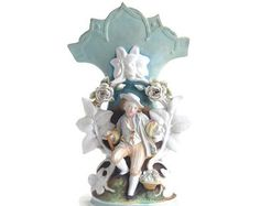 Antique Porcelain Vase, Decorative Rare Vase, Painted Figurine, Porcelain Flowers, Victorian Vase, Young Gentleman, White Blue Artistic Vase by ribbonsandglass. Explore more products on http://ribbonsandglass.etsy.com