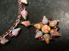 vintage opalescent glass and mauve rhinestone necklace