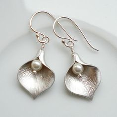 "Beautiful detail.  ""calla lily earrings by mia belle 