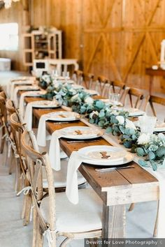 Wedding place setting ideas - greenery, white, indoor, barn, rustic, table, decor, reception {Dewitt for Love Photography}