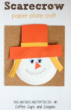 How to make a simple and adorable scarecrow paper plate craft. The perfect fall craft for toddlers, preschoolers and grade school kids!