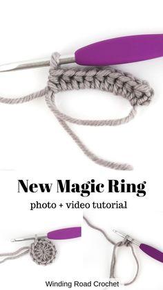 Magic Circle Tutorial: A New Method - Winding Road Crochet - - . Magic Circle Tutorial: A New Method – Winding Road Crochet – – Crochet Diy, Crochet Basics, Learn To Crochet, Crochet Crafts, Crochet Hooks, Easy Things To Crochet, Crochet Chain Stitch, Crochet Handles, Knitting Basics