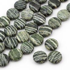 Okrągłe poduszeczki serpentynitu o wyraźnym prążkowaniu. Mineral Stone, Metallica, Jewlery, Swarovski, Gemstones, Ornaments, Crystals, Minerals, Jewels