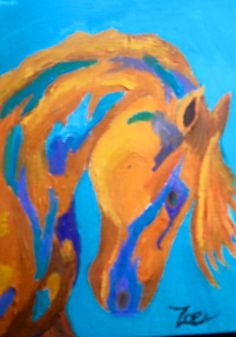 Emily's Horse. Zoe Kelly-Soldner. Abstract oil on canvas board