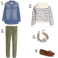 1. Current/Elliott denim shirt, $200, netaporter.com 2. H&M mohair striped sweater, $59, hm.com 3. Gemma Redux stone and chain bracelet, $194, shopbop.com 4. Minnetonka suede mocassins, $39, madewell.com 5. J.Crew seamed motorcycle pants, $128, jcrew.com