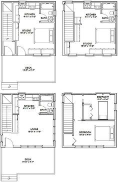 20x20 Houses PDF Floor Plans 683 sq ft от ExcellentFloorPlans