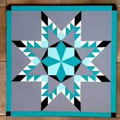 Teal/Gray Black & White Feathered Star designed with Barn Quilt Designs, Barn Quilt Patterns, Quilting Designs, Star Quilts, Quilt Blocks, Painted Barn Quilts, Barn Signs, Electric Quilt, Barn Wood Crafts